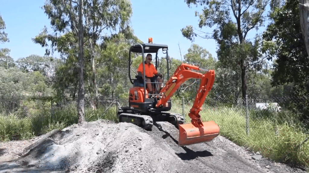 Diggermate Mini Excavator on a Slope